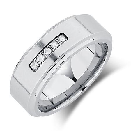 8mm Men's Ring with Enhanced Gray Diamonds in Gray Tungsten