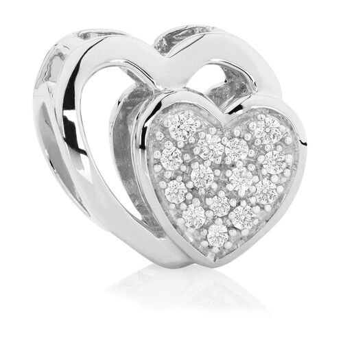 Diamond Set & Sterling Silver Double Heart Charm