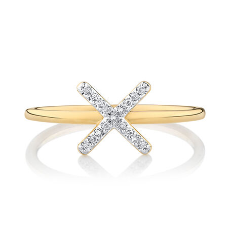 X Ring with 1/20 Carat TW of Diamonds in 10kt Yellow Gold
