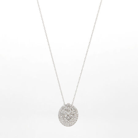 Online Exclusive - Cluster Pendant with 5/8 Carat TW of Diamonds in 14kt White Gold