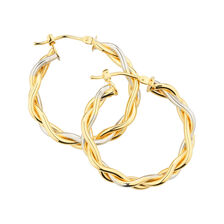 Online Exclusive - Patterned Hoop Earrings in 10kt Yellow & White Gold