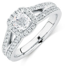 Sir Michael Hill Designer GrandAmoroso Engagement Ring with 1 1/2 Carat TW of Diamonds in 14kt White Gold