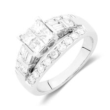 Engagement Ring with 1 3/4 Carat TW of Diamonds in 14kt White Gold