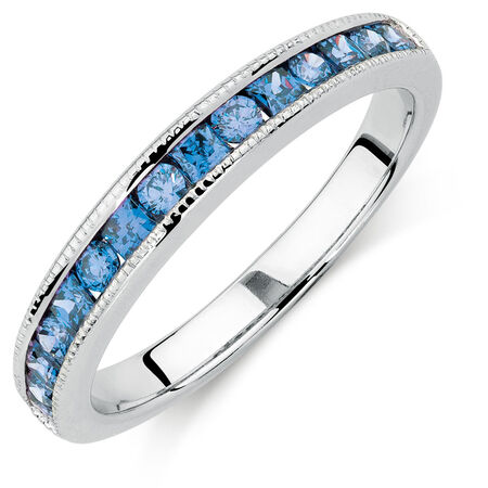 Ring with Blue Cubic Zirconia in Sterling Silver