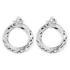 Online Exclusive - Patterned Hoop Earrings in 10kt White Gold