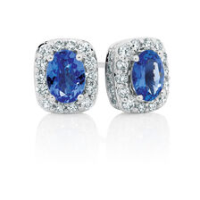 Stud Earrings with Tanzanite & 3/4 Carat TW of Diamonds in 14kt White Gold