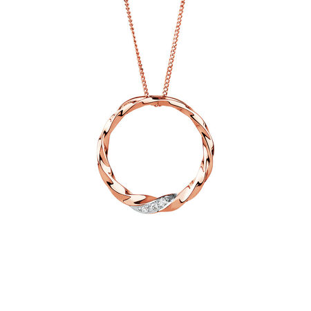 Twist Circle Pendant with Diamonds in 10kt Rose Gold