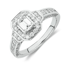 Online Exclusive - Halo Ring with 1 Carat TW of Diamonds in 18kt White Gold