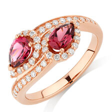 By My Side Ring with 1/6 Carat TW of Diamonds & Rhodolite Garnet in 10kt Rose Gold