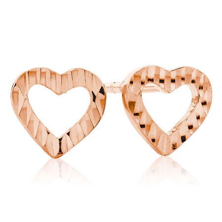Heart Stud Earrings in 10kt Rose Gold
