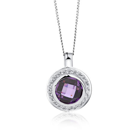 Pendant with Purple & White Cubic Zirconias in Sterling Silver