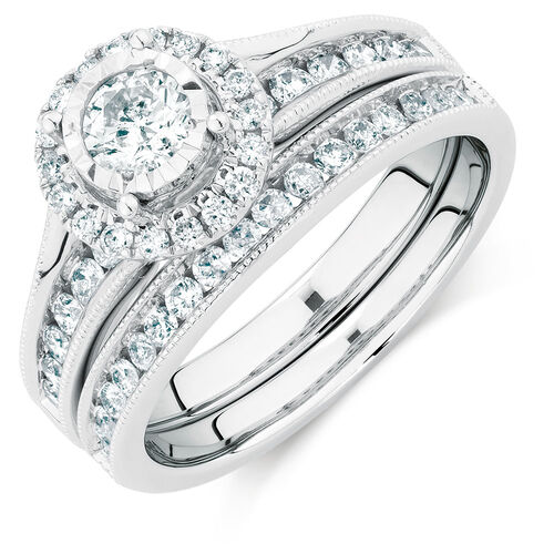 Bridal Set with 2 Carat TW of Diamonds in 14kt White Gold