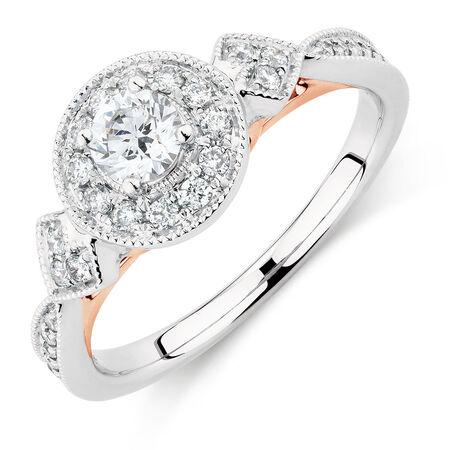 Sir Michael Hill Designer GrandAmoroso Engagement Ring with 0.58 Carat TW of Diamonds in 14kt White & Rose Gold