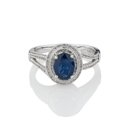 Ring with Sapphire & 1/5 Carat TW of Diamonds in 10kt White Gold