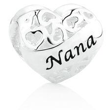 Nana'/'Grandma' Heart Charm in Sterling Silver
