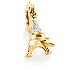 Diamond Set Eiffel Tower Dangle Charm in 10kt Yellow Gold