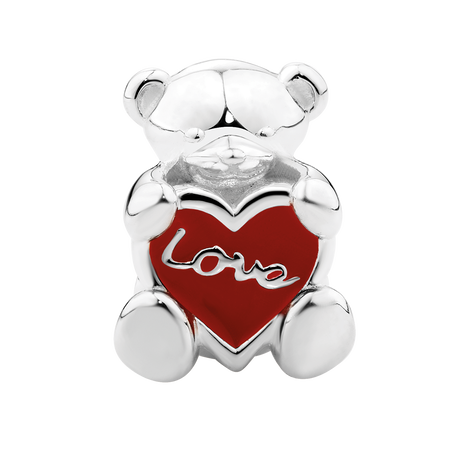 Red Enamel & Sterling Silver Teddy Bear Charm