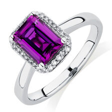 Ring with Created Mulberry Sapphire & 1/10 Carat TW of Diamonds in 10kt White Gold