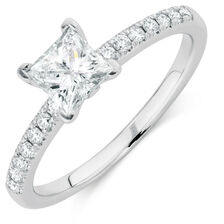 Evermore Colorless Engagement Ring with 0.86 Carat TW of Diamonds in 14kt White Gold