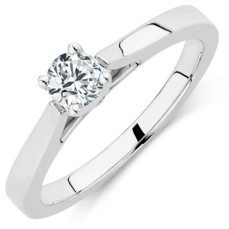 Certified Solitaire Engagement Ring with a 1/3 Carat Diamond in 14kt White Gold