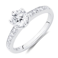 Whitefire Solitaire Engagement Ring with a 1 1/5 Carat TW Diamond in 18kt White & 22kt Yellow Gold