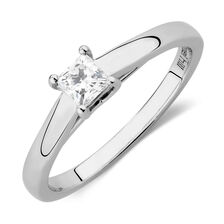 Ideal Cut Solitaire Engagement Ring with a 1/3 Carat Diamond in 14kt White Gold