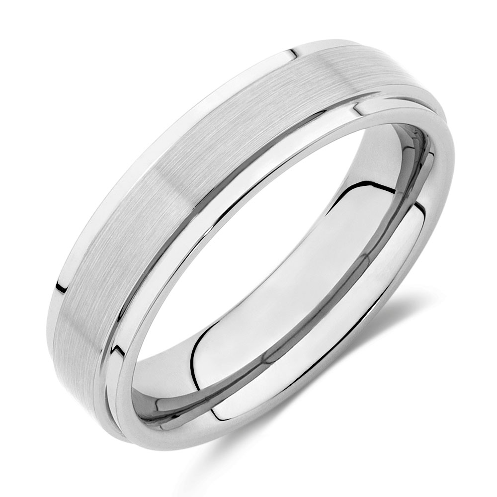 6mm mens ring in gray tungsten - Male Wedding Rings