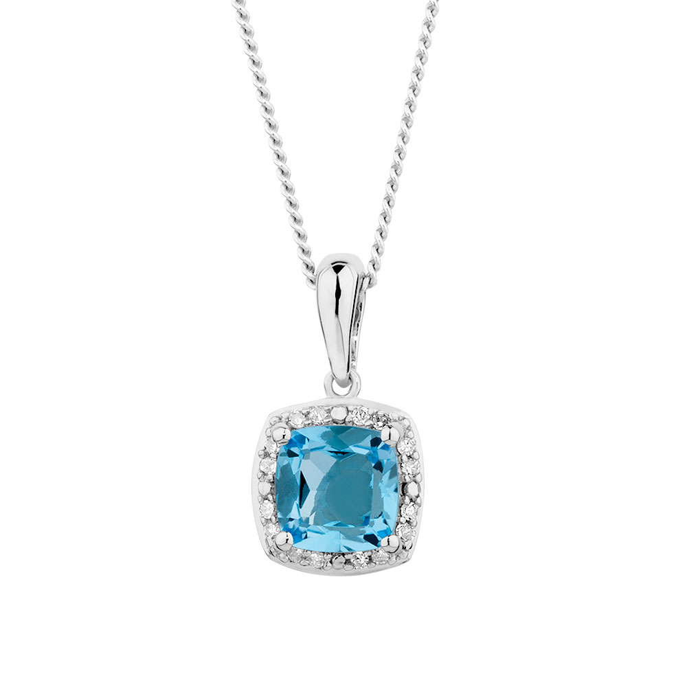 Pendant with blue topaz diamonds in 10kt white gold aloadofball Image collections