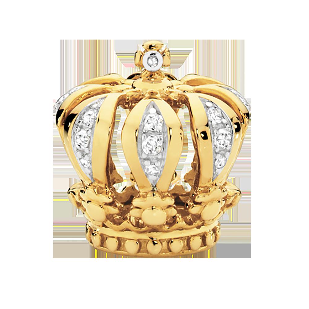 Diamond Set Amp 10kt Yellow Gold Crown Charm