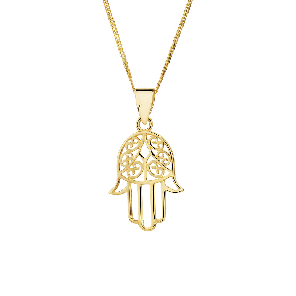 Hamsa hand pendant in 10kt yellow gold aloadofball Gallery