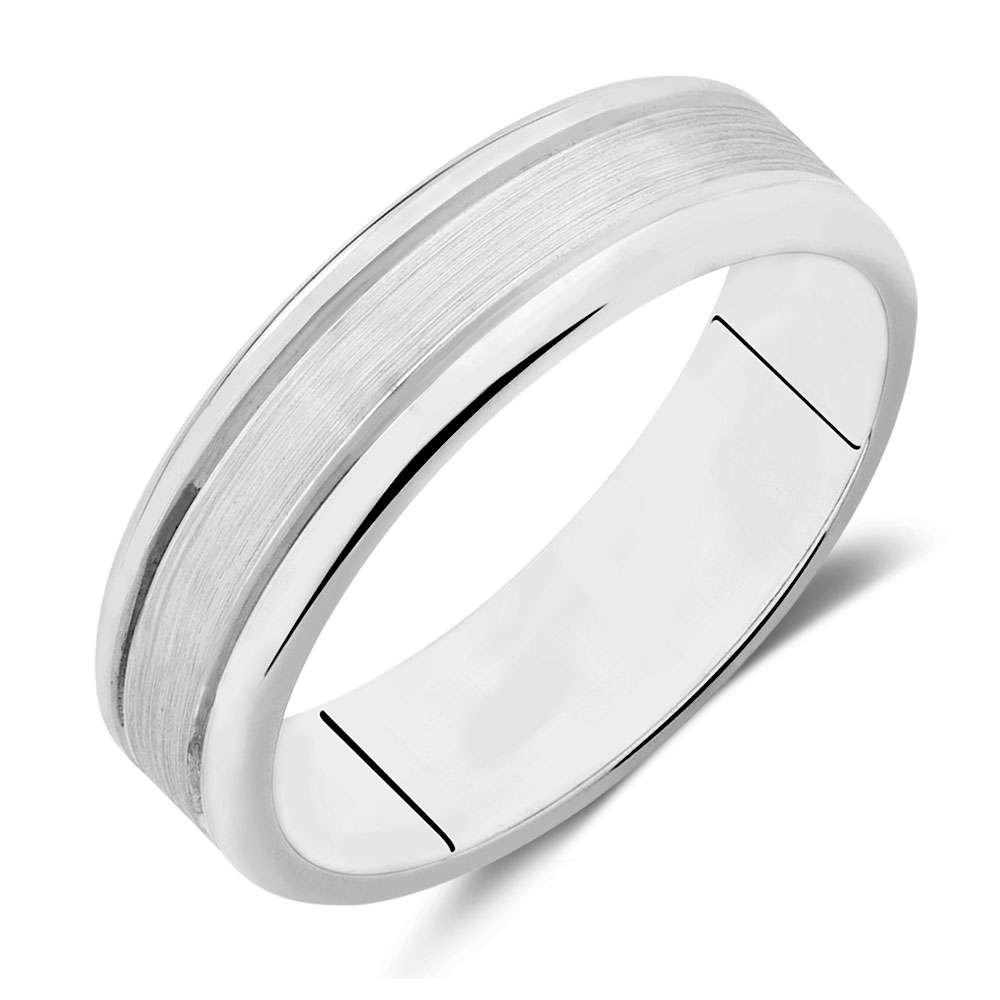 Patterned Ring in White Tungsten