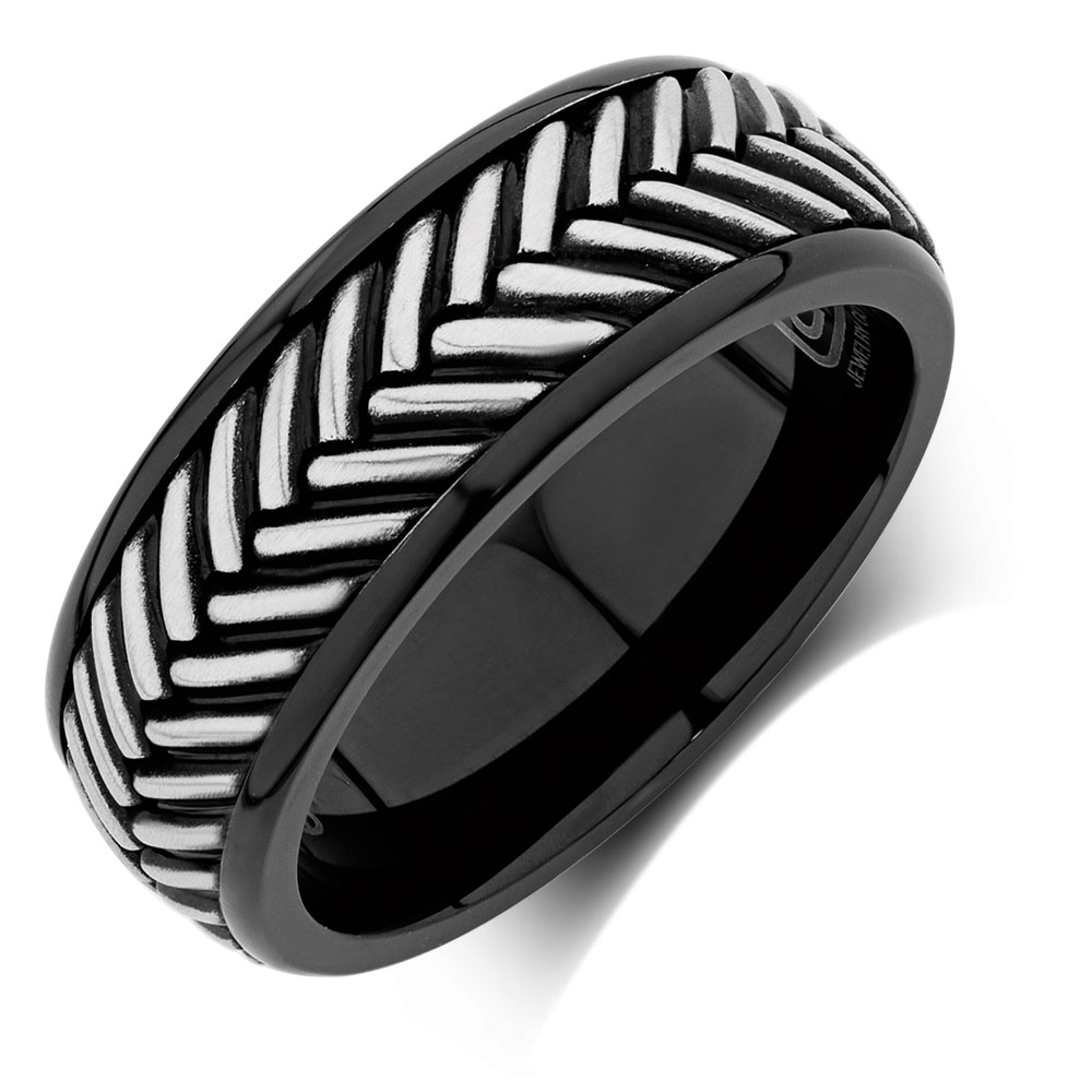 Mens Patterned Ring in Stainless Steel