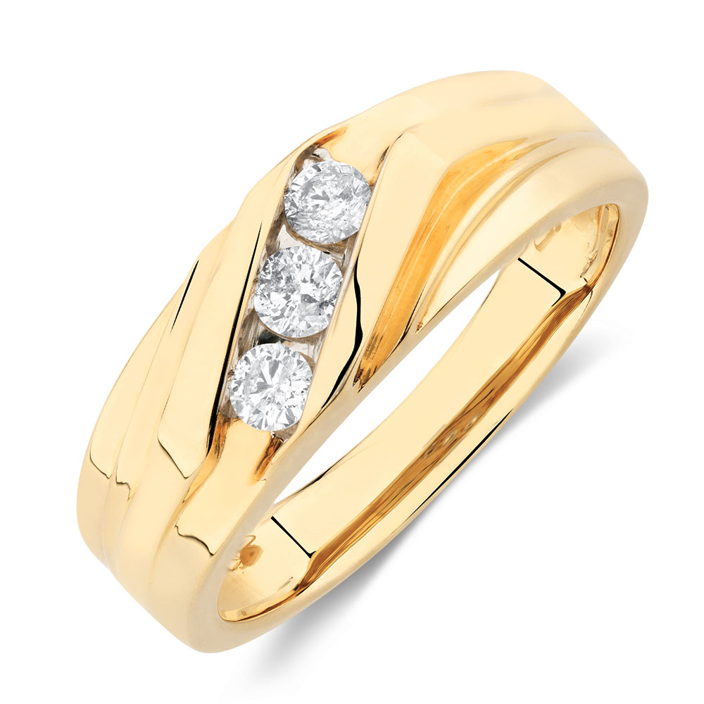 Men 39 s ring with 1 3 carat tw of diamonds in 10kt yellow gold for Best mens jewelry sites