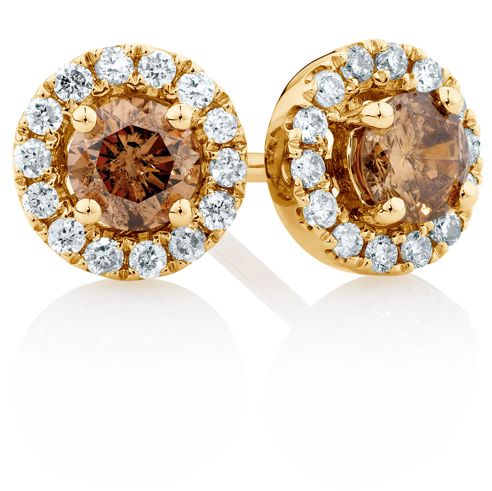 natural champagne stud earrings with a 1 2 carat tw of. Black Bedroom Furniture Sets. Home Design Ideas