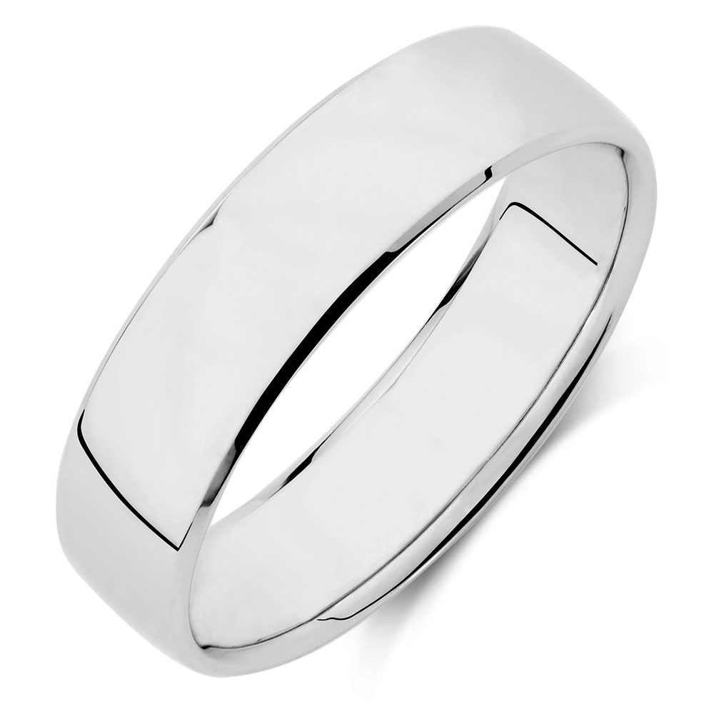 Mens Wedding Band In 10kt White Gold