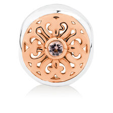 Patterned Charm with Pink Crystal in 10kt Rose Gold & Sterling Silver
