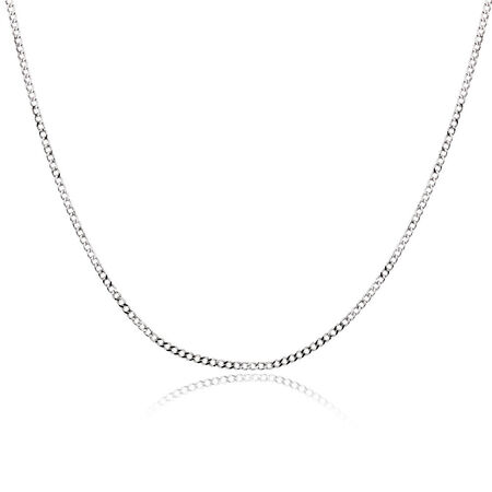 """50cm (20"""") Hollow Curb Chain in 10kt White Gold"""