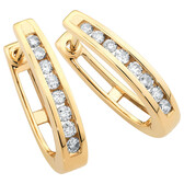 Hoop Earrings with 1/4 Carat TW of Diamonds in 10kt Yellow Gold