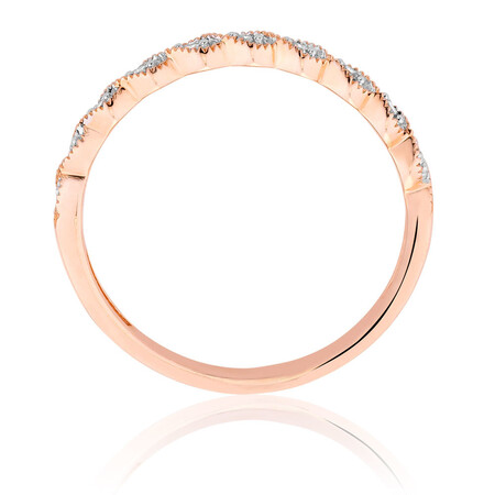 Wedding Band with 1/20 Carat TW of Diamonds in 10kt Rose Gold