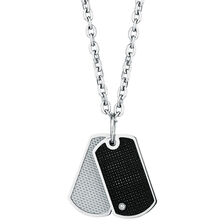 Diamond Set Pendant in Carbon Fibre & Stainless Steel