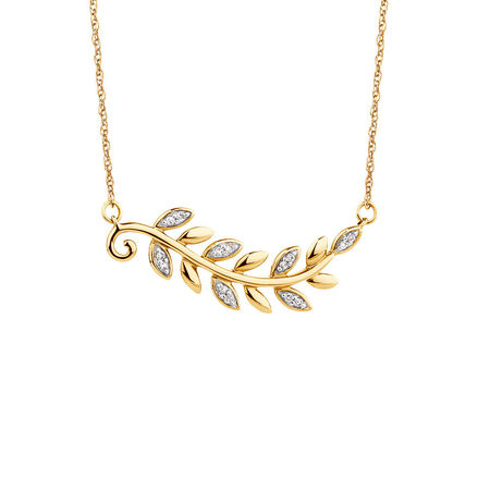 Olive Leaf Necklace with 1/20 Carat TW of Diamonds in 10kt Yellow Gold