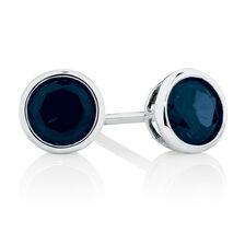 Stud Earrings with Dark Blie Cubic Zirconia in Sterling Silver