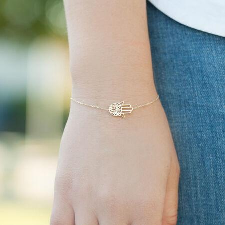 "19cm (7.5"") Hamsa Hand Bracelet in 10kt Yellow Gold"