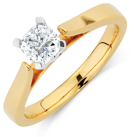 Certified Solitaire Engagement Ring with a 3/4 Carat Diamond in 14kt Yellow & White Gold