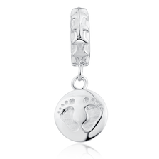 Sterling Silver Baby Feet Dangle Charm