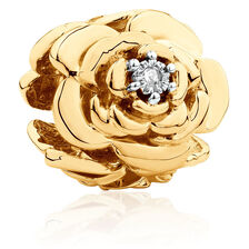 Diamond Set Flower Charm in 10kt Yellow Gold