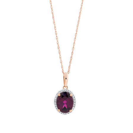 Pendant with Rhodolite Garnet and 1/15 Carat TW of Diamonds in 10kt Rose Gold