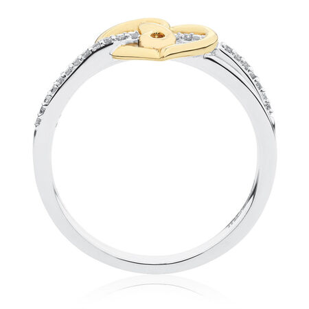 Infinitas Ring with Diamonds in Sterling Silver & 10kt Yellow Gold