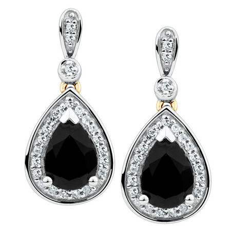 Drop Earrings with Sapphire & 1/5 Carat TW of Diamonds in 10kt Yellow & White Gold