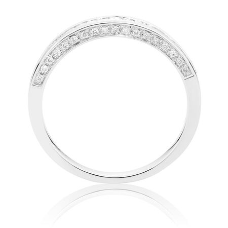 Ideal Cut Wedding Band with 1/3 TW of Diamonds in 14kt White Gold